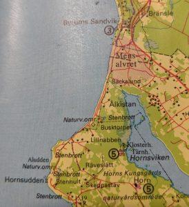 Karta över området Byrum - Hornsudden