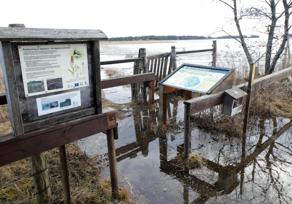 Det var översvämmat vid entrén till Stenöorn naturreservat