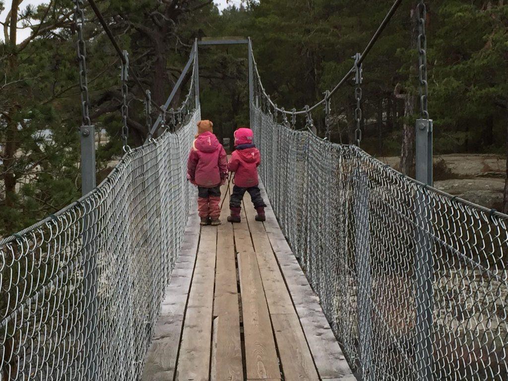 En av hängbroarna i Stendörrens naturreservat