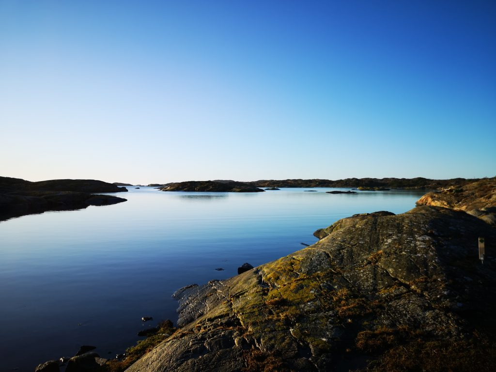 Utsikt när vi går nere vid vattnet på Härön