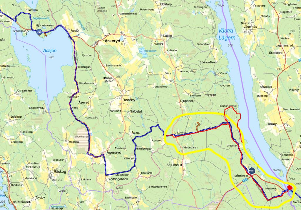 Anebyleden - Västra Lägern - L Lönhult tur och retur (och så en liten avstickare ner mot sjön