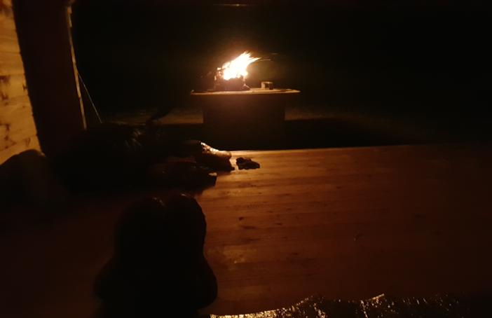 Utsikt från mitt natthärbärge på sträckan Långasjönäs - Pergärde