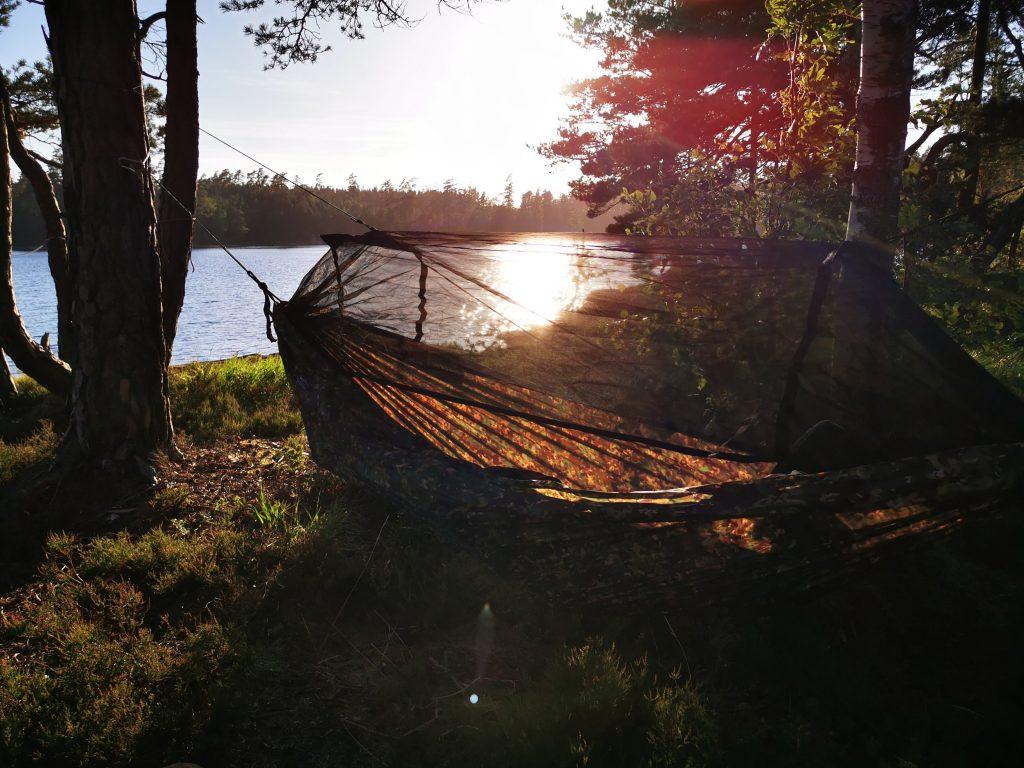 Här ska vi sova inatt - en hammock uppe