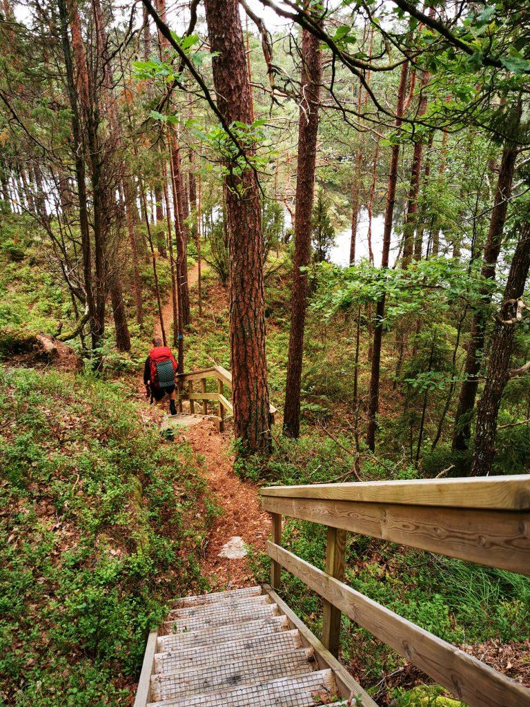 I de brantaste partierna finns trappor bredvid  Bergsjön