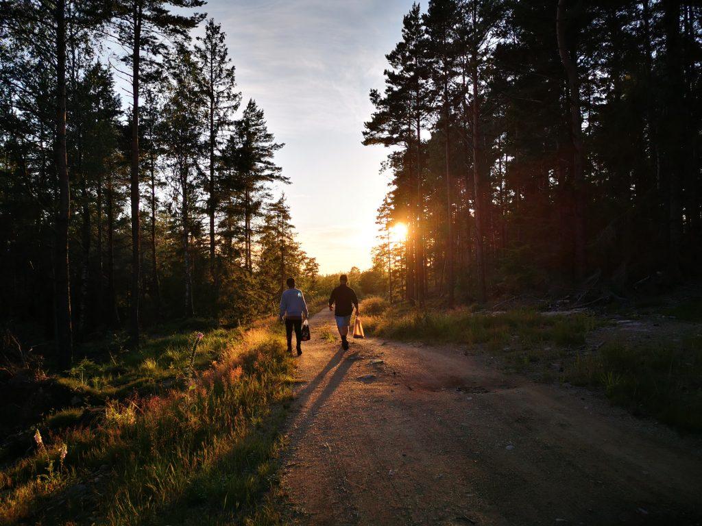 Pojkarna på väg hemåt i solnedgången