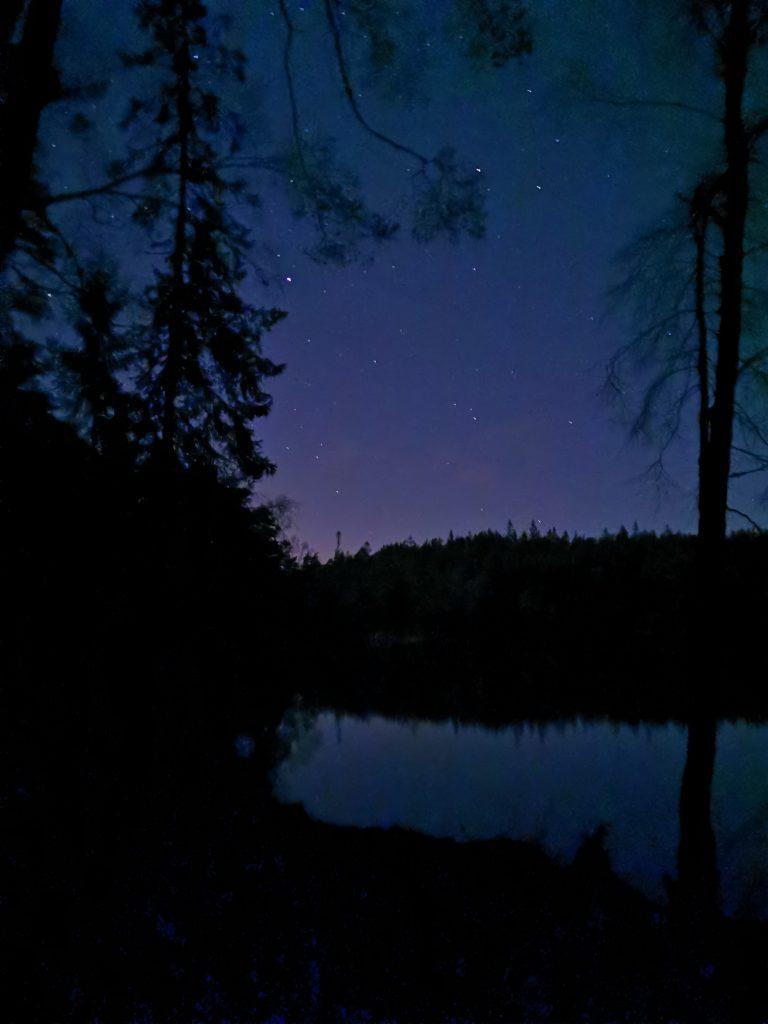 Stjärnklar himmel fick vi på vår utenatt