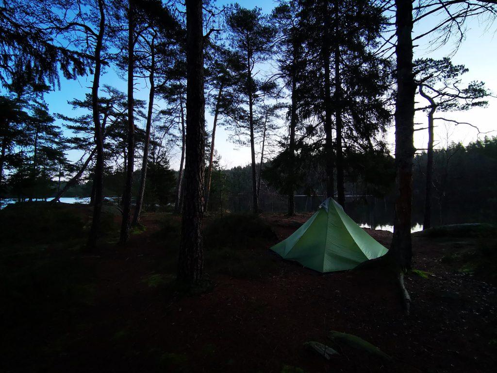 Tältet på morgonen