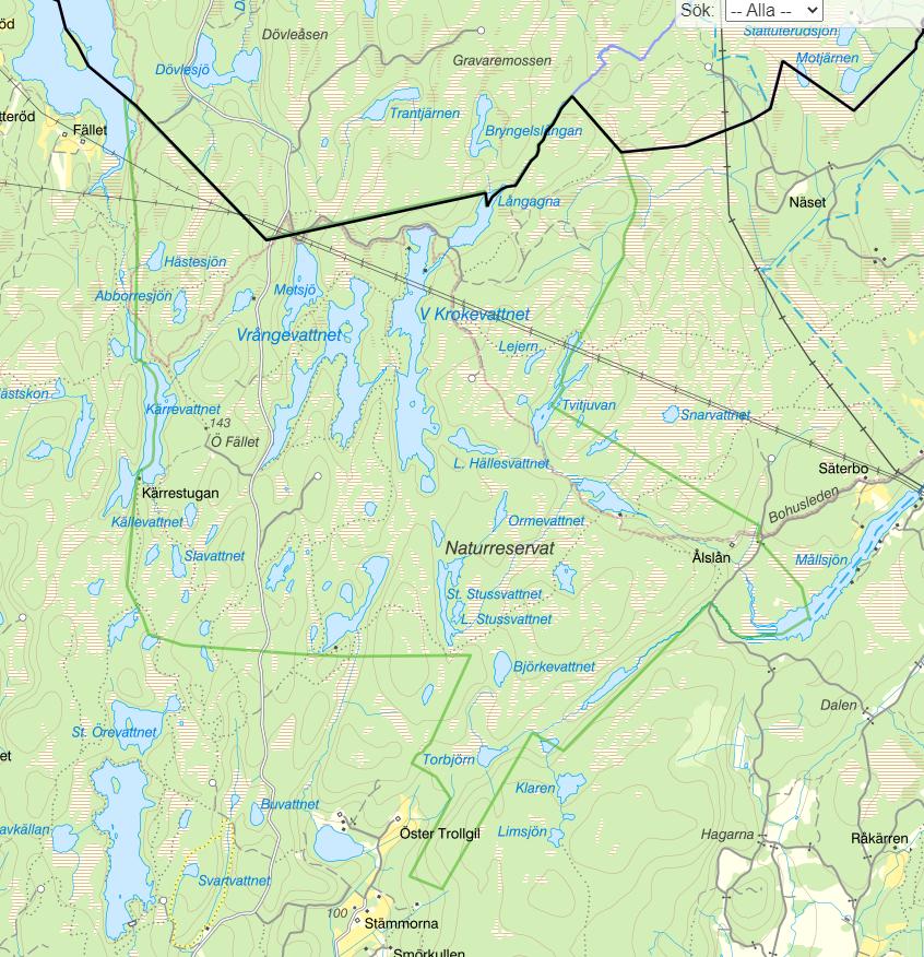 Karta över Herrestadsfjället