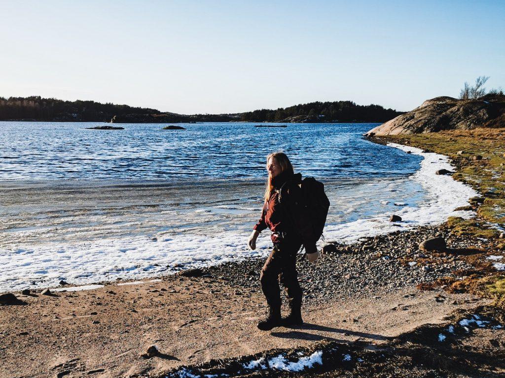 Längs den här stranden tog vi en fikapaus