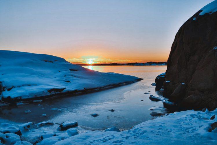 Svanvik naturreservat, solnedgång januari