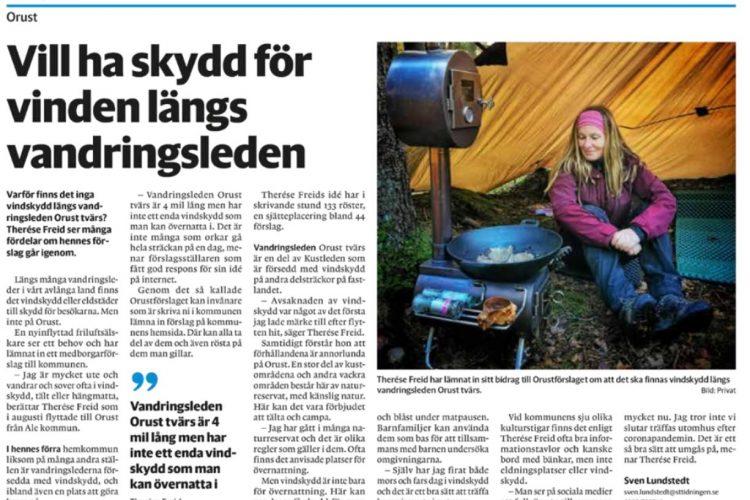 ST-tidningen skrev om mitt medborgarförslag - Orustförslaget 361 - om vindskydd längs vandringsleden Orust tvärs