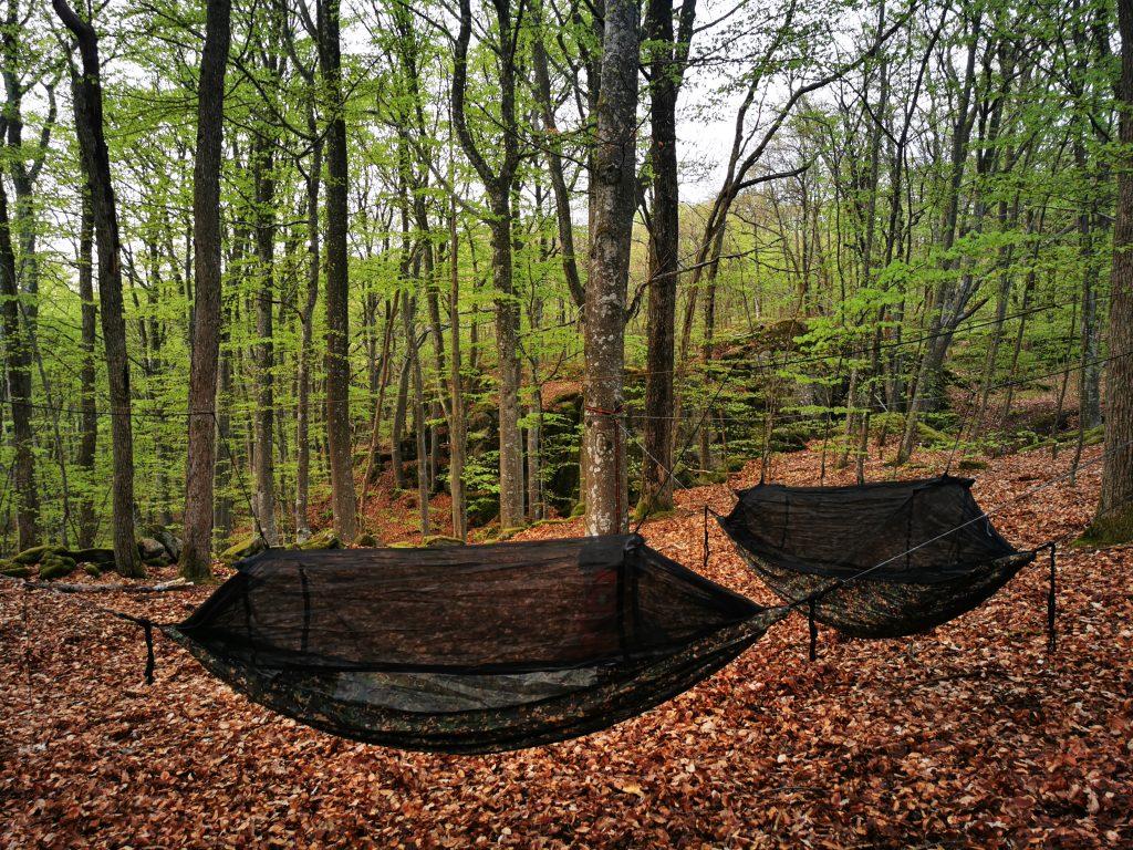 Allt redo för vår hammock-natt på Himlabacken