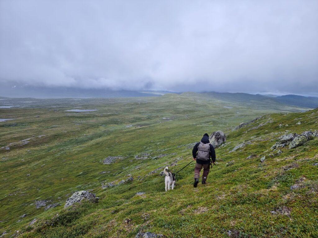 Vi hittar en egen väg ner från Svansjökläppen