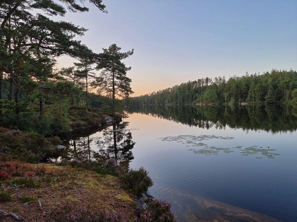 Solen hade redan börjat sjunka i Gårdsjön när vi kom fram till vår sovplats